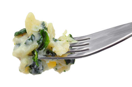 A fork filled with ricotta spinach pasta on a white background. Stock Photo