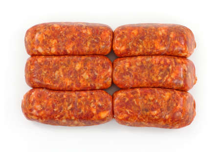 Six hot Italian sausage links on a white background. Stock Photo - 9528508