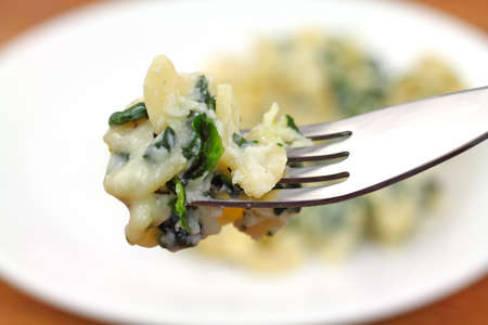 A fork filled with ricotta spinach pasta with the remaining serving in the background.