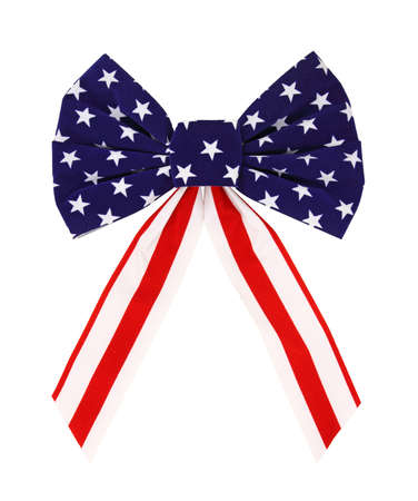 stripe: A colorful red white and blue bow on a white background. Stock Photo