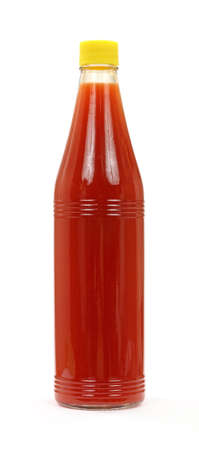 A new bottle of hot sauce on a white background.