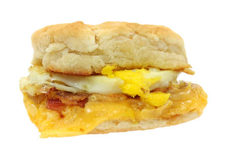 Breakfast sandwich biscuit with bacon egg and cheese. photo