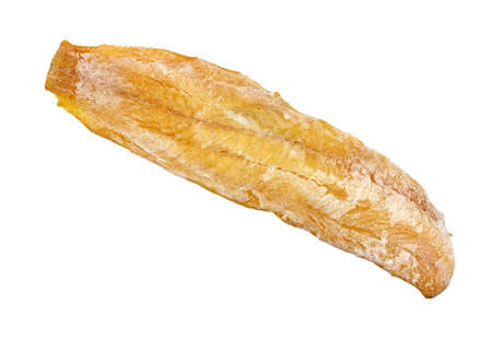 haddock: A single fillet of frozen smoked haddock on a white background.