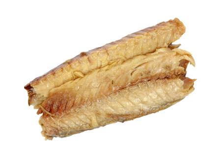 Two pieces of small boneless mackerel on a white background.