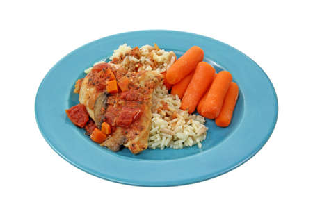 Blue plate with healthy meal of chicken cacciatore rice and carrots on a white background. Stock Photo - 10301798