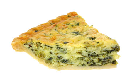 egg tart: Single slice of spinach quiche on a white background. Stock Photo