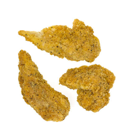 tender's: Three pieces of pepper seasoned fried chicken strips on a white background.