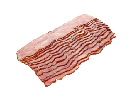 turkey bacon: Several slices of turkey bacon on a white background.