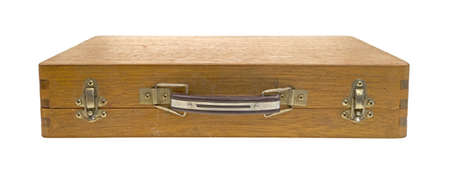 clasps: The front of a wood artist box showing clasps and handles.