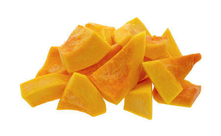 A group of cut and slice butternut squash chunks on a white background.