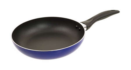 skillet: Side view of a non stick surface skillet on a white background.