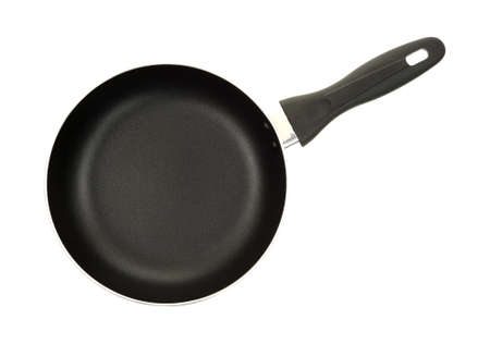 non: Top view of a non stick surface skillet on a white background.