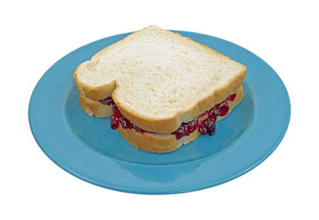 peanut butter and jelly: A peanut butter and grape jelly sandwich made with white bread on a blue plate.