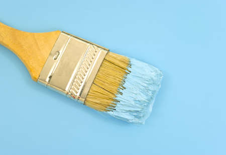 bristles: Close view of a paintbrush with bristles loaded with blue paint.  Stock Photo