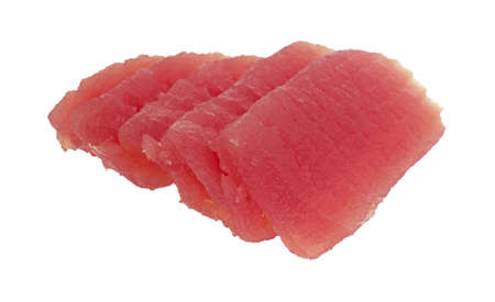 Several fresh slices of yellowfin tuna on a white background. 스톡 콘텐츠