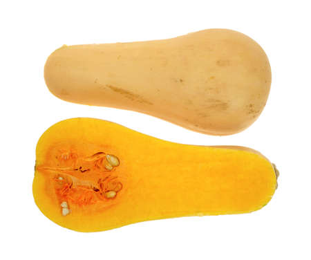 Two halves of a butternut squash with one half showing seeds and pulp and the other half showing the outer rind on a white background.