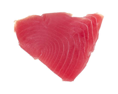 Top view of a yellowfin tuna steak isolated on a white background.