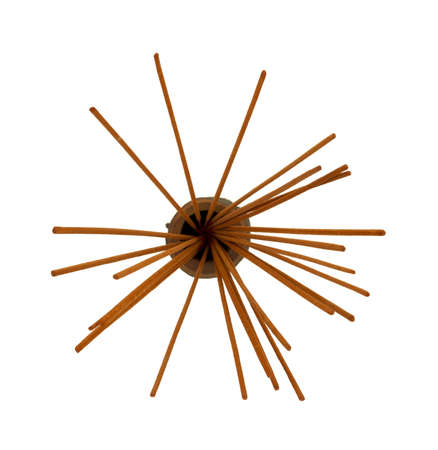Several incense in a small container spread out on a white background  Banco de Imagens
