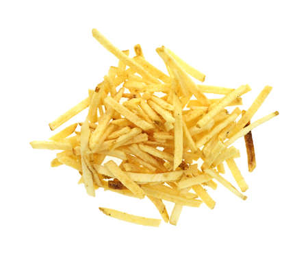 shoestring: A serving of shoestring potatoes on a white background