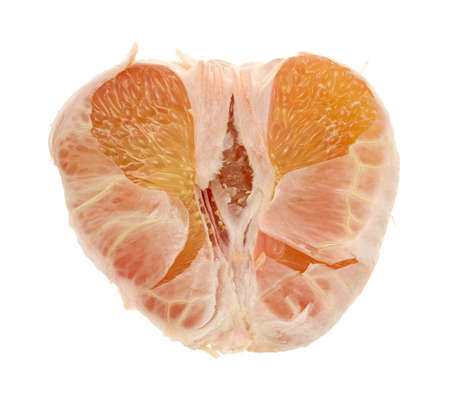 pummelo: Close view of half of a pummelo fruit on a white background