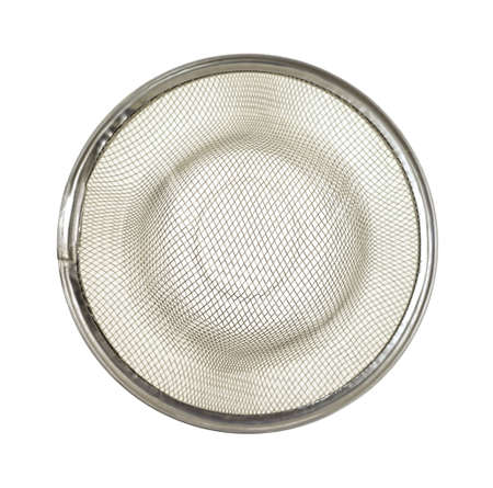 A metal mesh sink strainer on a white background Stock Photo - 12381714