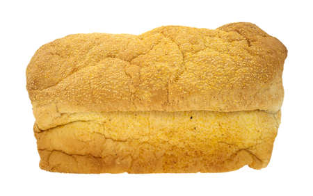 Side view of an English muffin loaf of bread on a white background  Archivio Fotografico