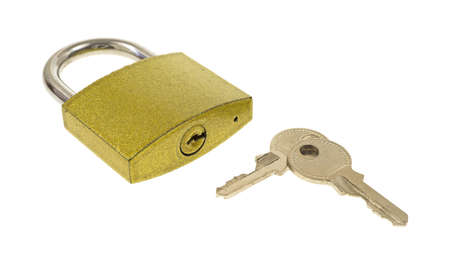 A padlock with two keys showing keyhole on a white background
