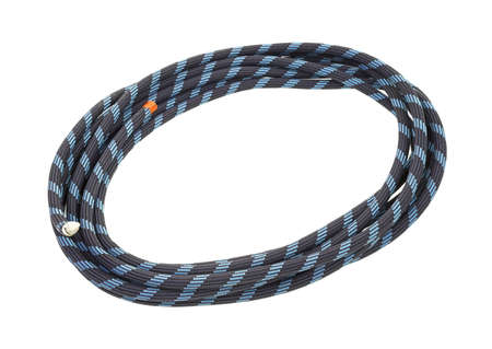 A small coil of climbers rope with the end taped off on a white background