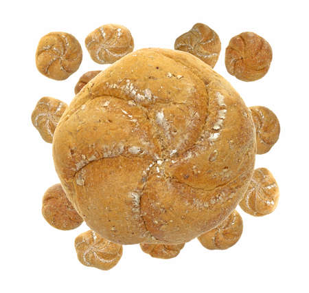 smaller: A single large whole wheat roll over several smaller rolls on a white background  Stock Photo