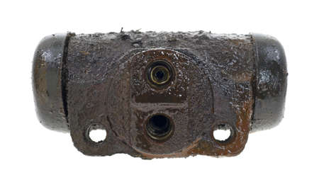 The back of an old leaky wheel cylinder on a white background  Stock Photo - 13068318