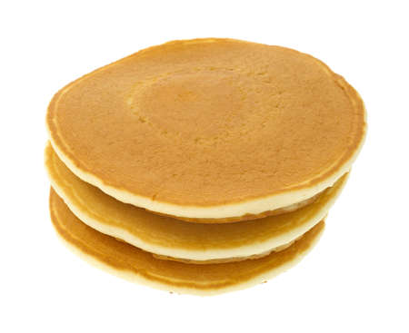 A stack of three plain pancakes on a white background
