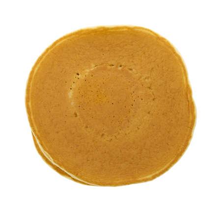 Bovenaanzicht van een stapel gewoon pannenkoeken op een witte achtergrond
