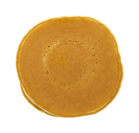 hot cakes: Vista superior de una pila de panqueques simples sobre un fondo blanco