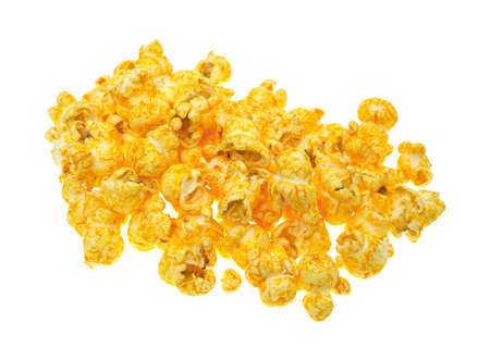 Small serving of cheese flavored popcorn on a white background