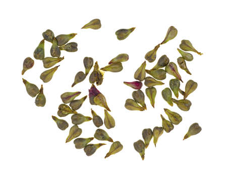 A small group of grape seeds from seeded grapes on a white background  photo