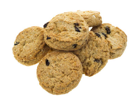 A small group of miniature oatmeal raisin cookies on a white background Stock Photo - 13283066