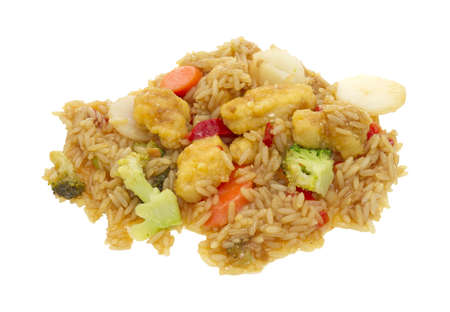 A serving of sesame seed chicken with rice and vegetables in sauce on a white background Stock Photo - 13369495