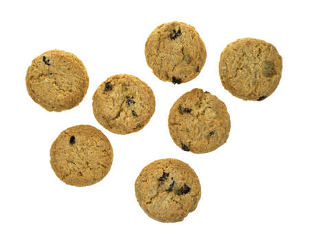 Several small bite sized oatmeal raisin cookies on a white background   Stock Photo - 13430111