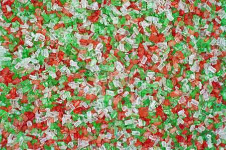Close view of red green and white sugar sprinkles  photo