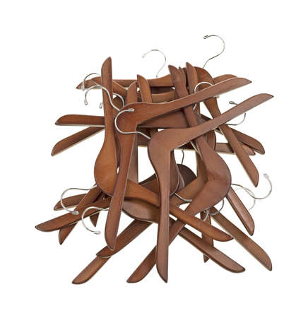 A group of coat hangers in a mess on a white background Stock Photo - 13725673