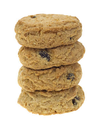 A stack of bite sized oatmeal raisin cookies on a white background  photo