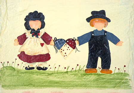 rendition: Close view of an old folk art rendition of two faceless people holding a basket together