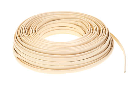 landlines: A large coil of plastic coated residential telephone wire on a white background