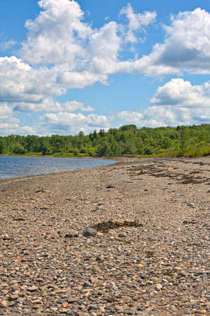 A rocky beach with distant woods and a blue cloudy sky in Stockton Springs Maine  photo