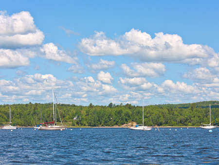 moorings: View of several boats at moorings in Stockton Springs Maine