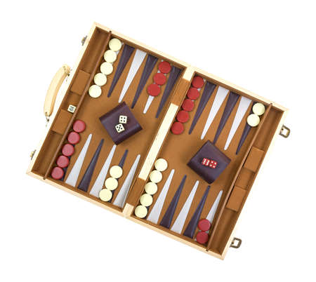A backgammon game with pieces, dice, shakers and board on a white background