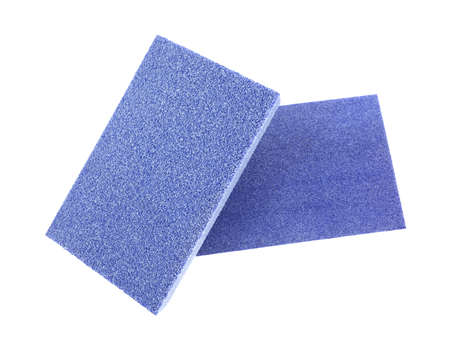 Two blue sanding blocks for finish carpentry on a white background  Stock Photo