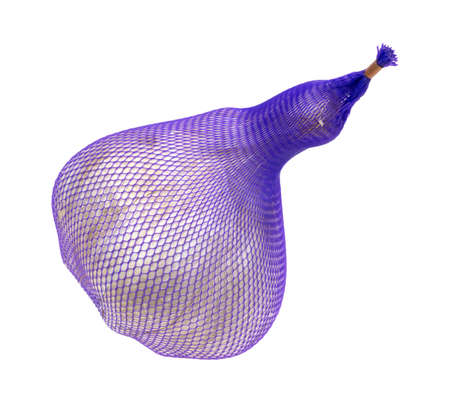 sleeve: A large elephant garlic bulb in a purple mesh plastic sleeve on a white background  Stock Photo