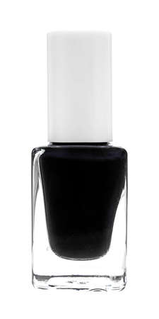 A bottle of black nail polish on a white background  photo
