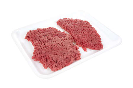 cubed: Two fresh raw beef cubed steaks on a white meat tray  Stock Photo